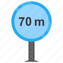 70 m, minimum distance, road sign, traffic warnings, vehicle distance icon