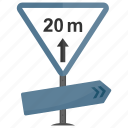 20 m, minimum distance, road sign, traffic warnings, vehicle distance icon