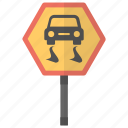 hazard warning, road sign, road warning, slippery road, warning sign icon