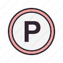 parking, parking area, parking sign icon