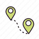 direction, distance, map, route icon