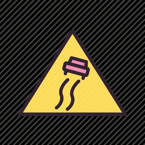 road danger, sign, slippery, slippy icon