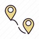 distance, location, pin, points icon