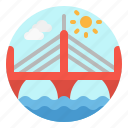 architecture, bridge, building, city, suspended icon