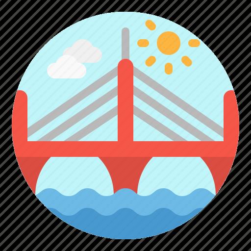 architecture, bridge, building, city, suspended icon