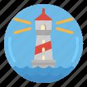 beach, landscape, lighthouse, sea, sunrise icon