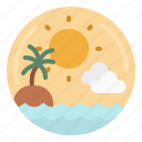 beach, sea, sun, sunset, travel icon