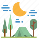 forest, moon, night, tent, travel icon