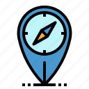 compass, location, maps, pin, pointer icon