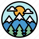 forest, landscape, mountain, scenery, trees icon