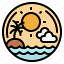 beach, sea, sun, sunset, travel icon