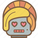 avatars, bot, droid, lady, love, robot icon