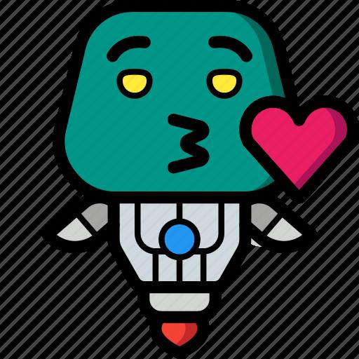 avatars, bot, droid, kiss, robot icon
