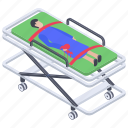 emergency bed, healthcare, hospital bed, hospital emergency bed, patient bed, patient stretcher icon