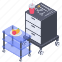 medical kit, medical trolley, operational tools, surgical equipment, surgical instruments icon