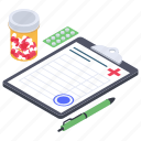 medical document, medical prescription, medical receipt, medical report, medication icon