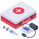 bp cuff, emergency kit, first aid box, first aid kit, medicine box, pills case, tablet box icon