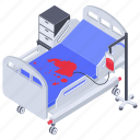 emergency bed, hospital bed, hospital furniture, patient bed, stretcher icon