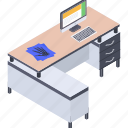 computer desk, office, office table, work desk, workplace, workstation icon