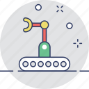 bulldozer, crawler, industrial arm, mechanical, technology icon