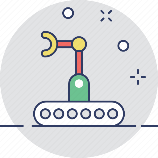 bulldozer, crawler, industrial arm, mechanical, technology icon