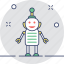 android, cyborg, metallic, robot man, toy icon