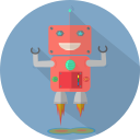 android, fun robot, launch, mascot, mechanical, metal, robot, robot chargers, robot expression, robotic, space, technology icon