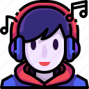 auriculars, avatar, face, headphones, listening, music, user icon