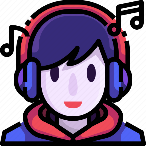 Auriculars, avatar, face, headphones, listening, music, user icon - Download on Iconfinder