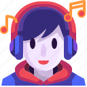 auriculars, avatar, face, headphones, listening, music, user