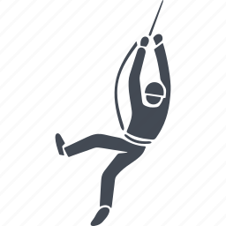 climber, human, rock climbing, rope icon