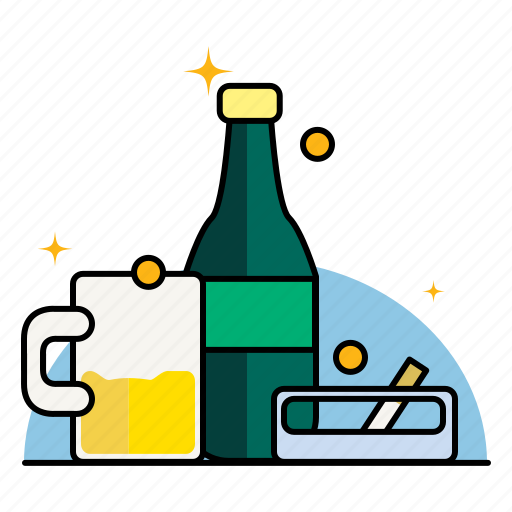 addiction, adult, alcohol, ashtray, beer, beverage, cigarette, cigarettes, smoking icon