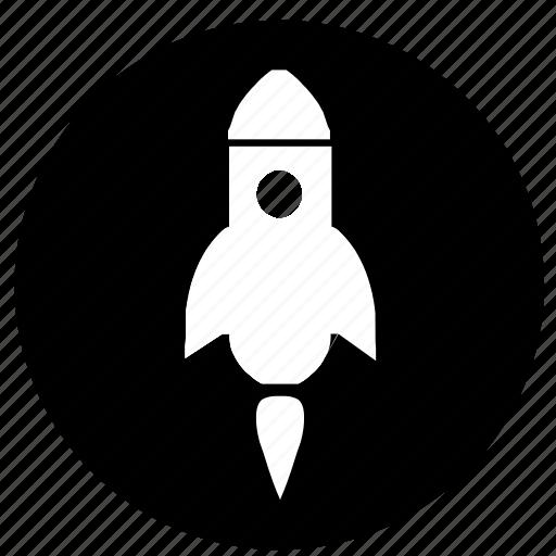 cosmos, label, rocket, space icon