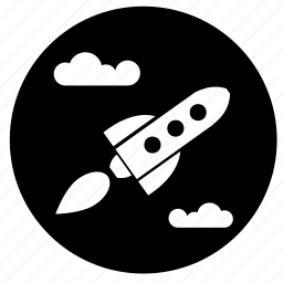 fly, label, rocket, space icon