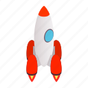 blog, grey, isometric, launch, rocket, ship, spaceship icon