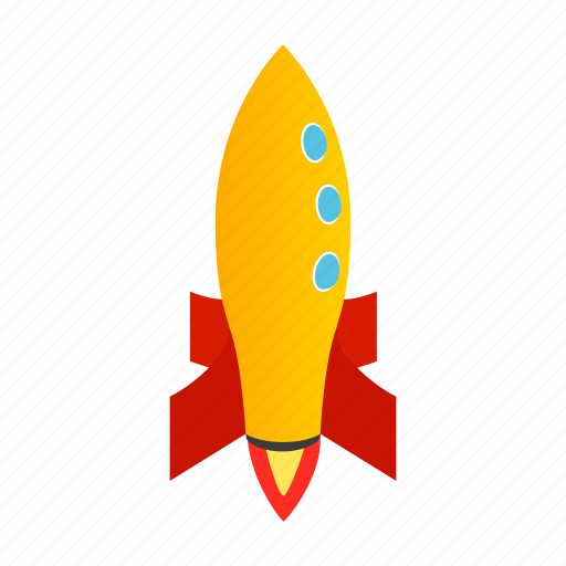 blog, isometric, launch, orange, rocket, ship, spaceship icon