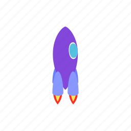 blog, isometric, launch, purple, rocket, ship, spaceship icon
