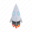 big, blog, grey, isometric, rocket, ship, spaceship icon