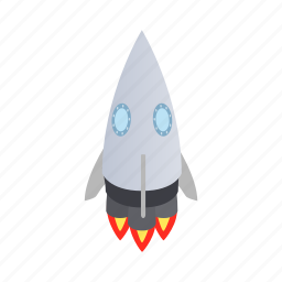 big, blog, grey, isometric, rocket, ship, spaceship icon