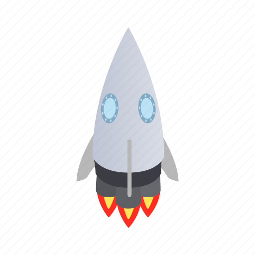 Blog, grey, isometric, rocket, ship, spaceship icon - Download on Iconfinder