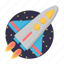 galaxy, rocket, spacecraft, start icon