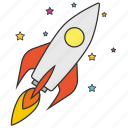 astronomy, cosmonaut, rocket, space, spaceship, startup icon