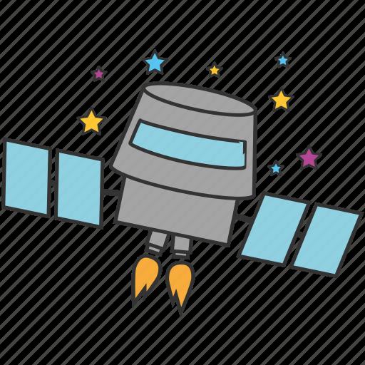astronomy, cosmonaut, rocket, satellite, space, spaceship, startup icon