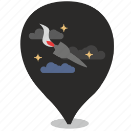 bomb, clouds, night, pointer, rocket, stars icon