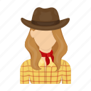 cowboy, farmer, hat, rodeo, woman icon