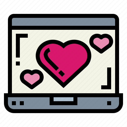 computer, heart, laptop, screen icon