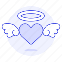 halo, flying, angelic, wing, love, romance, cupid, heart icon