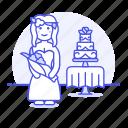 spouse, wedding, bouquet, cake, romance, day, flower, celebration, dress, bride, tier