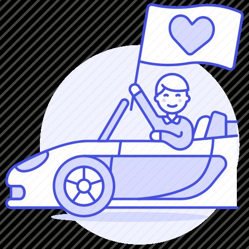 1, anniversary, boyfriend, car, date, flag, heart, love, male, pick, pickup, red, romance, surprise, up icon