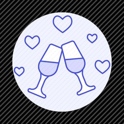 anniversary, celebration, dating, day, dinner, glass, heart, love, pink, romance, wedding, wine icon